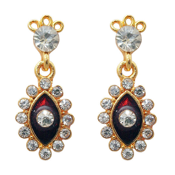 The99Jewel Red Austrian Stone Gold Plated Earrings