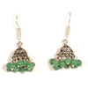 Kriaa Green Drops Black Oxidised Jhumkis