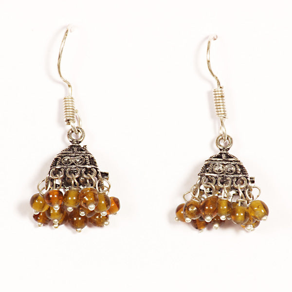 Kriaa Brown Drops Black Oxidised Jhumkis