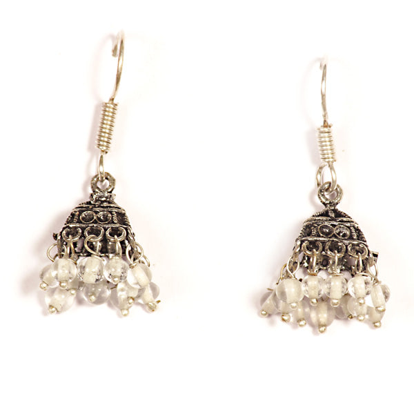 Kriaa White Drops Black Oxidised Jhumkis
