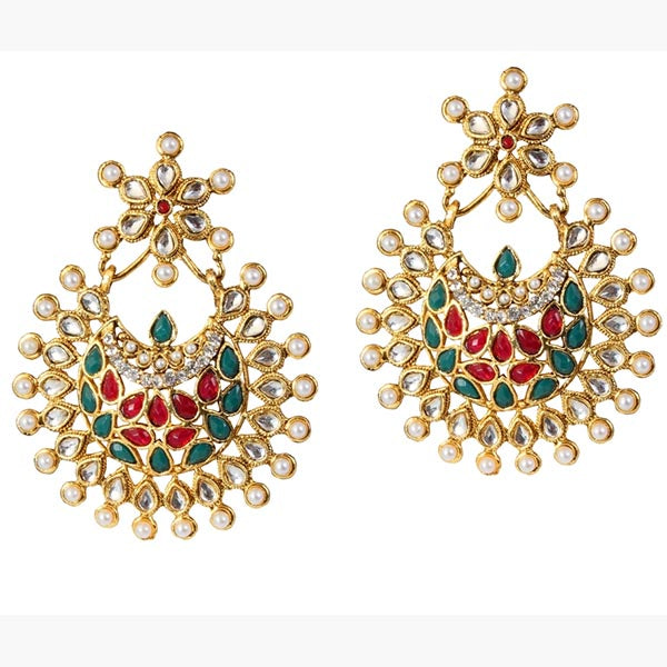 Kriaa Kundan Red & Green Pota Pearl Dangler Earrings