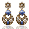 Kriaa Blue Stone Gold Plated Dangler Earrings