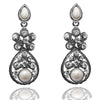 Kriaa White Peral Stone Silver Plated Dangler Earrings