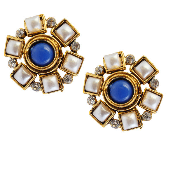 14Fashions Blue Austrian Stone Stud Earrings