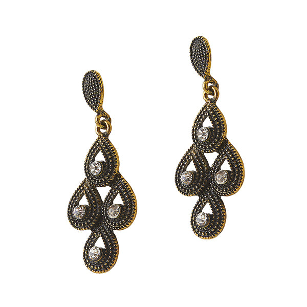 The99Jewel Stone Antique Gold Plated Dangle Earring
