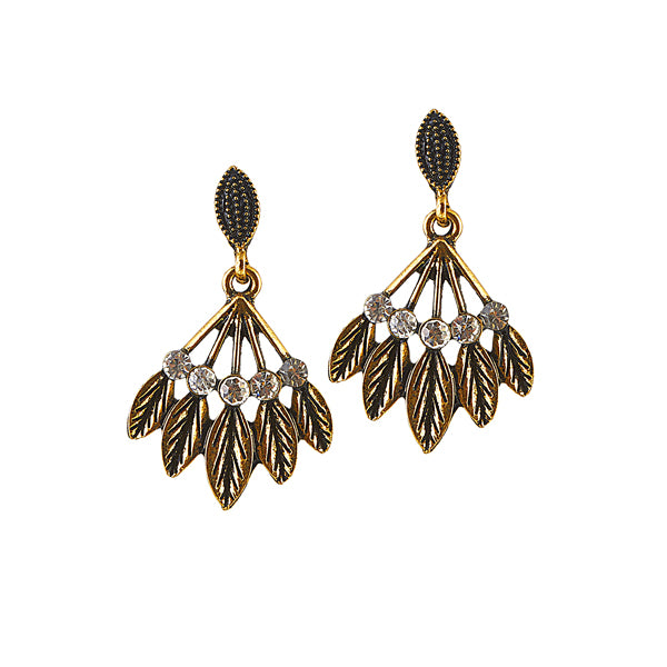 The99Jewel Stone Antique Gold Plated Dangler Earring