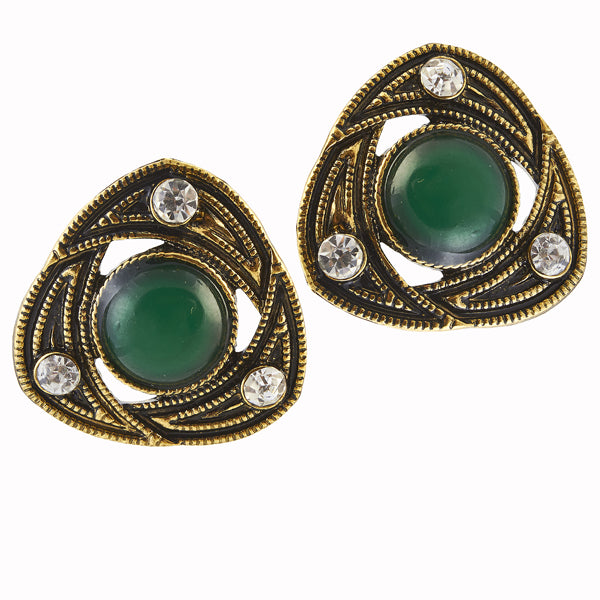 The99Jewel Stone Green Antique Gold Plated Stud Earrings