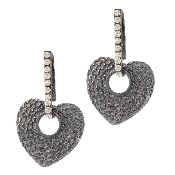 The99jewel Rhodium Plated Stone Danglers Earrings