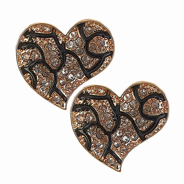 The99Jewel Stone Heart Gold Plated Stud Earring