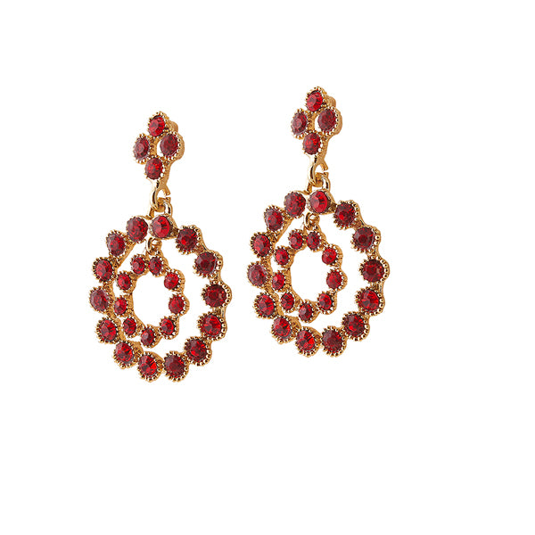 The99Jewel Red Austrian Stone Gold Plated Dangler Earrings