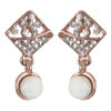 Urbana White Stone Gold Plated Dangler Earrings