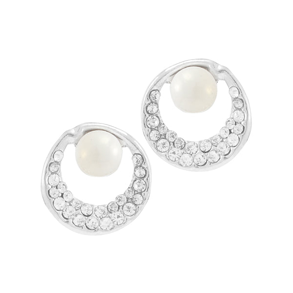 Kriaa Stone Pearl Silver Plated Stud Earrings