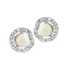 Kriaa White Pearl Stone Silver Plated Dangler Earrings