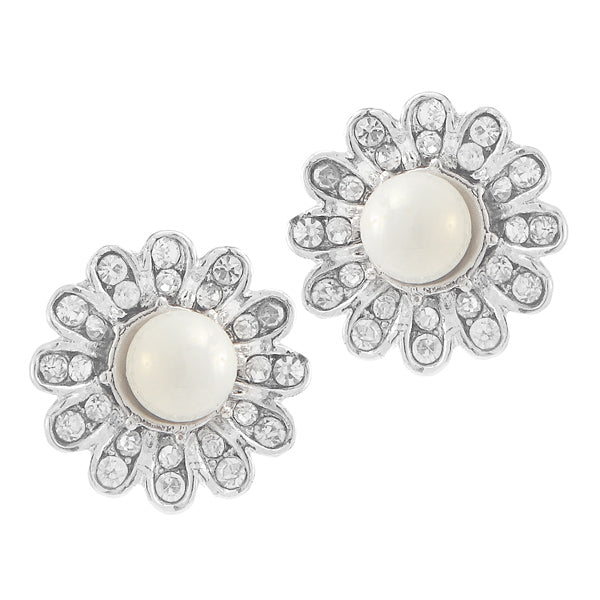 Kriaa Pearl Stone Silver Plated Stud Earrings