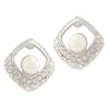 Kriaa Silver Plated Pearl Stone Studs Earrings