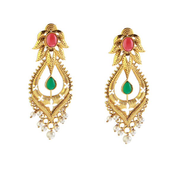 The99Jewel Gold Plated Pota Stone Dangler Earrings