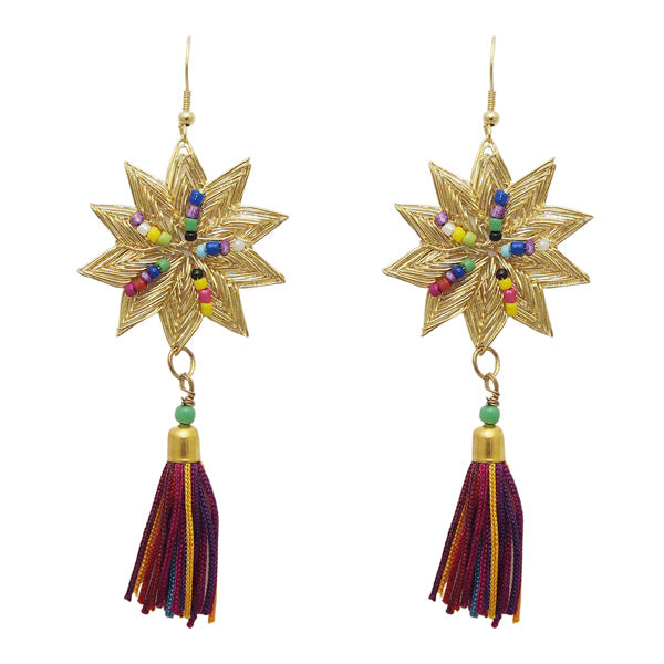 Jeweljunk Multi Thread Gold Plated Star Earrings