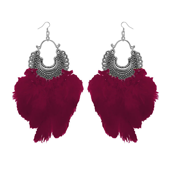 Jeweljunk Maroon Feather Rhodium Plated Afghani Earrings