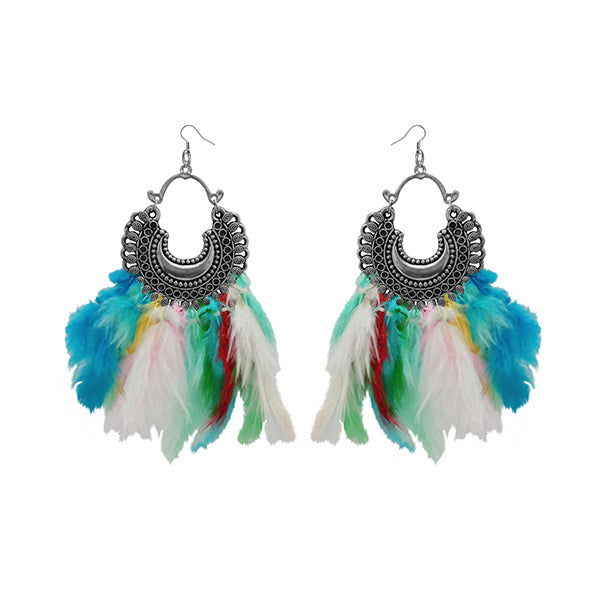 Jeweljunk Multicolor Feather Rhodium Plated Afghani Earrings