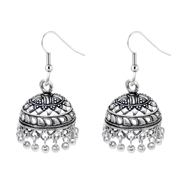 Jeweljunk Black Silver Beads Drop Oxidised Jhumki Earrings