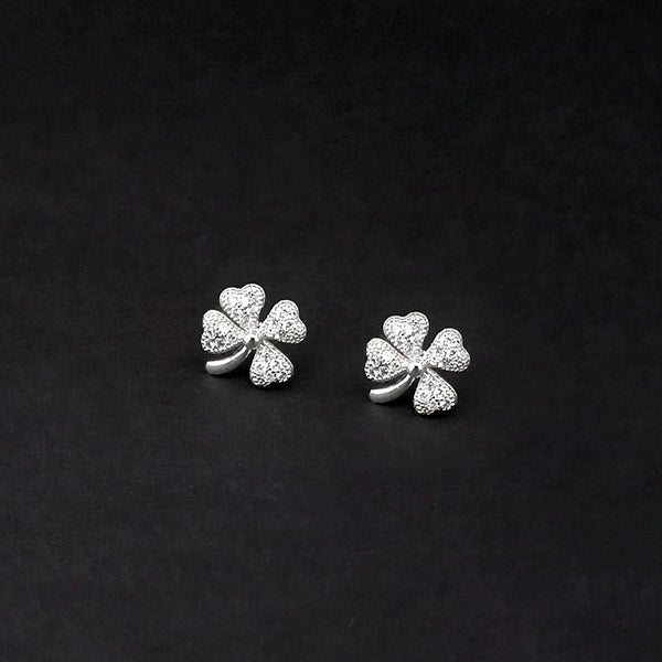 Urthn Silver Plated Floral Design Austrian Stone Stud Earrings