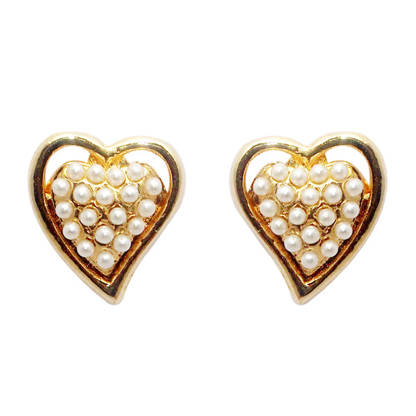 Urbana Pearl Gold Plated Heart Shaped Stud Earrings