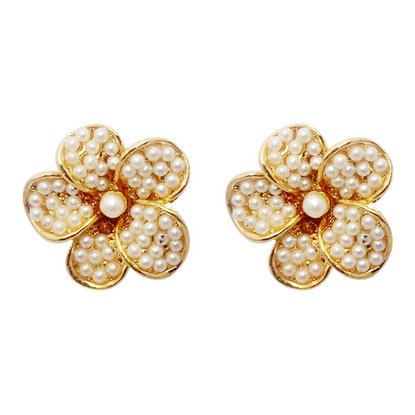 Urbana Pearl Gold Plated Floral Design Stud Earrings