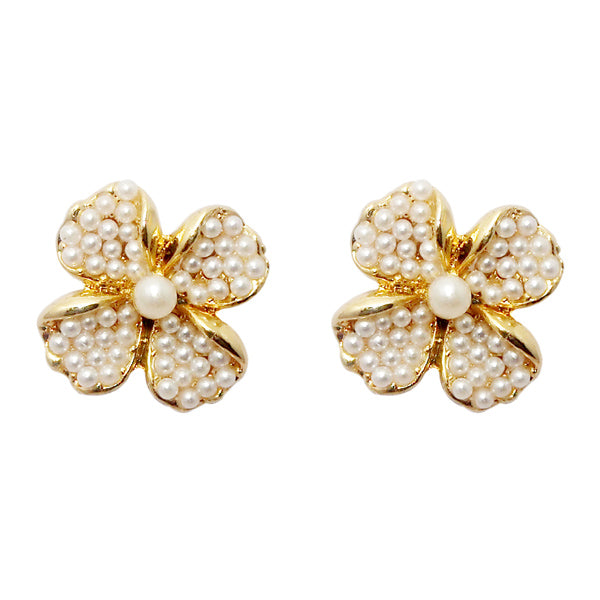 Urbana Gold Plated Pearl Floral Design Stud Earrings