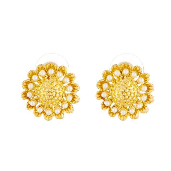 82a783d603b Kriaa Floral Design Gold Plated Pearl Stud Earrings – The99Jewel.com