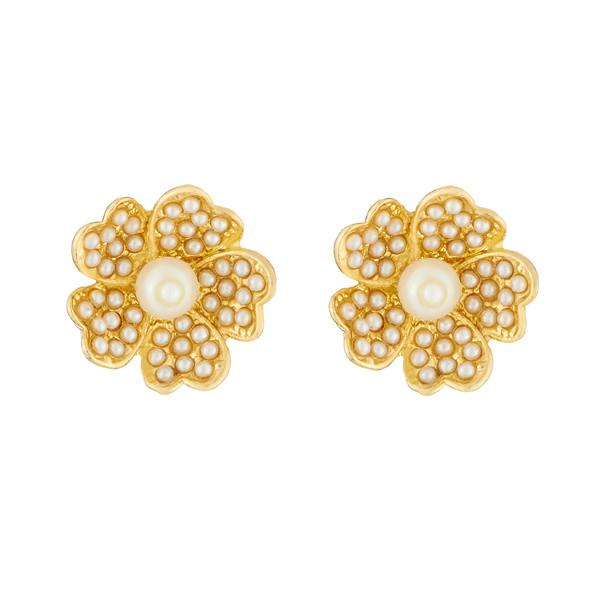 8a88674b1 Kriaa Floral Design Gold Plated Pearl Stud Earrings – The99Jewel.com