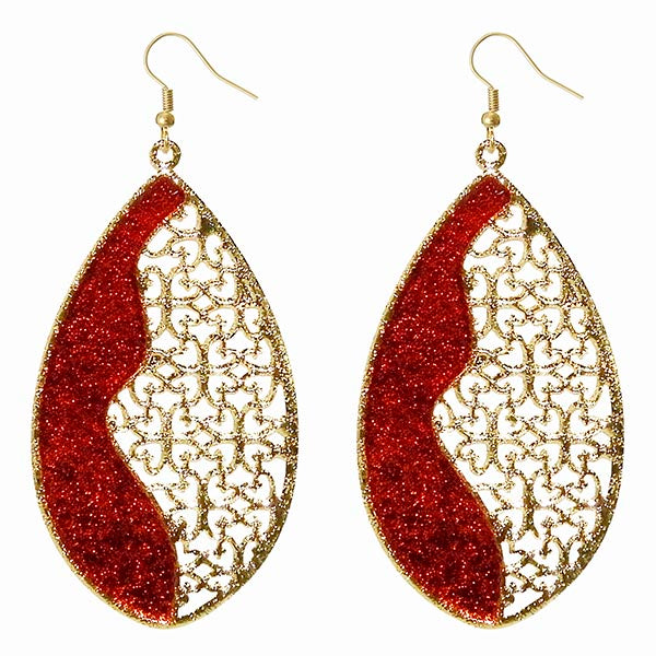 Urthn Gold Plated Maroon Meenakari Dangler Earrings