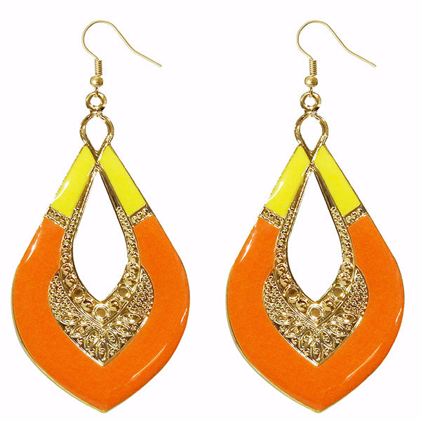 Urthn Gold Plated Orange Meenakari Dangler Earrings