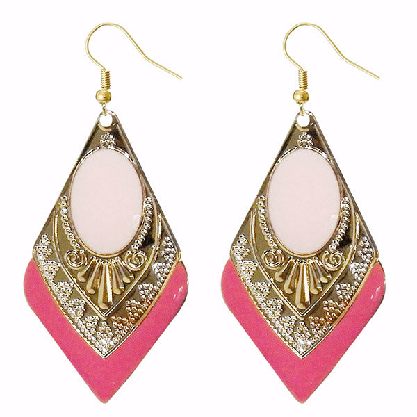 Urthn Pink Meenakari Gold Plated Dangler Earrings