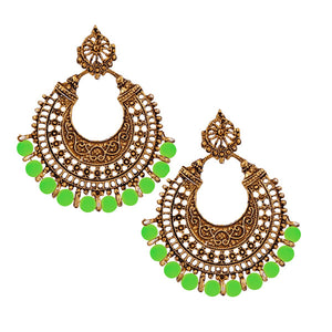 Jeweljunk Antique Gold Plated Green Beads Afghani Earrings