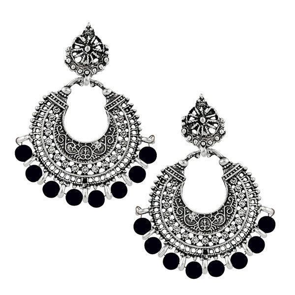 Jeweljunk Black Beads Rhodium Plated Afghani Earrings
