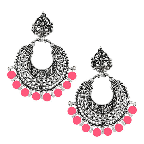 Jeweljunk Pink Beads Rhodium Plated Afghani Earrings