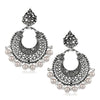 Jeweljunk Rhodium Plated White Beads Afghani Earrings