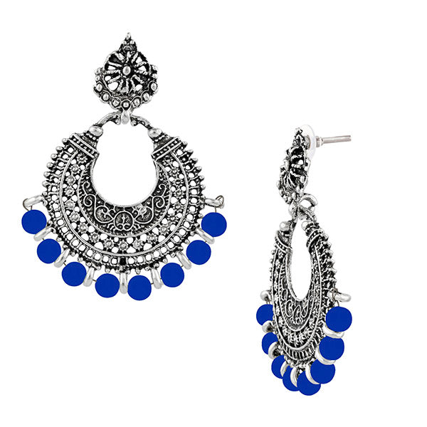 Jeweljunk Rhodium Plated Blue Beads Earrings
