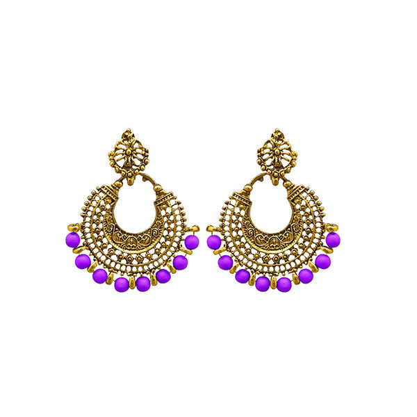 Jeweljunk Purple Beads Antique Gold Plated Afghani Earrings