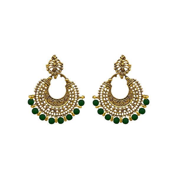 Jeweljunk Green Beads Antique Gold Plated Afghani Earrings