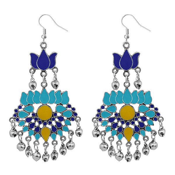 Jeweljunk Meenakari Rhodium Plated Afghani Earrings