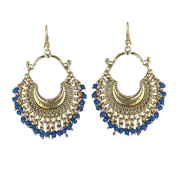 Jeweljunk Blue Beads Gold Plated Afghani Earrings