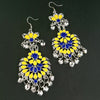 Jeweljunk Yellow And Blue Meenakari Afghani Earrings