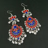 Jeweljunk Red And Blue Meenakari Afghani Earrings