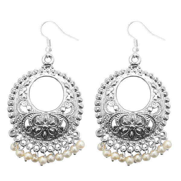 Jeweljunk Silver Plated Pearl Drops Afghani Earrings