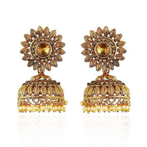 Kriaa Gold Plated Austrian Stone Jhumki Earrings