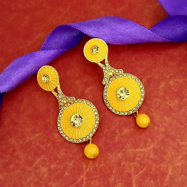 Kriaa Gold Plated Austrian Stone Yellow Meenakari Matte Dangler Earrings - 1312056C