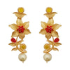 Kriaa Maroon Austrian Stone Gold Plated Floral  Dangler Earrings