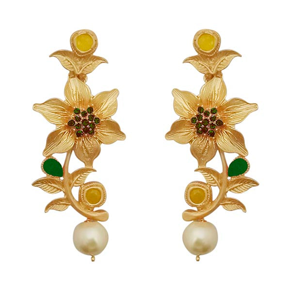 Kriaa Green Austrian Stone Gold Plated Floral Dangler Earrings