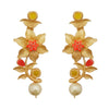Kriaa Red Austrian Stone Gold Plated Floral Dangler Earrings